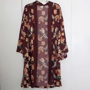 A New Day Floral Kimono Duster With Pockets Size Small